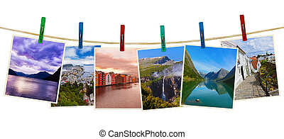 Norway travel photography on clothespins isolated on white background