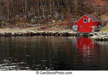 Norway typical coastline boat shed...