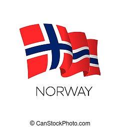 Norway vector flag. Waving flag of Norway. Oslo