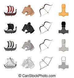 Norway, Viking, attributes and other web icon in cartoon style.Alloy, instrument, fighting, icons in set collection.