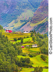 Norway village and mountain landscape