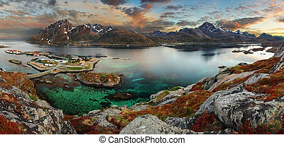Norway village with mountain, panorama