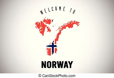 Norway Welcome to Text and Country flag inside Country border Map Vector Design.