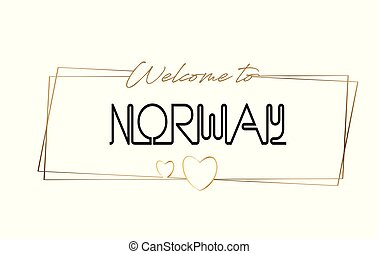 Norway Welcome to text Neon lettering typography. Word for logotype, badge, icon, postcard, logo, banner Vector Illustration.