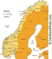 Norway, editable vector map broken down by administrative districts includes surrounding countries, in color with cities, district names and capitals, all objects editable. Great for building sales and marketing territory maps, illustrations, web graphics and graphic design. Includes sections of ...