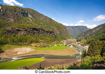 Norway with landscape during spring time. Railroad from Flam to Myrdal in Norway