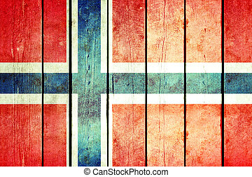 Norway wooden grunge flag.