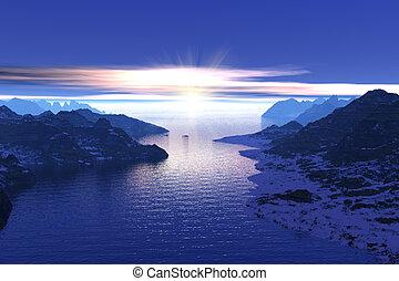 norwegen, fjorde, morgen