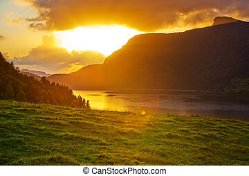 norwegen, sonnenuntergang, landschaftsbild