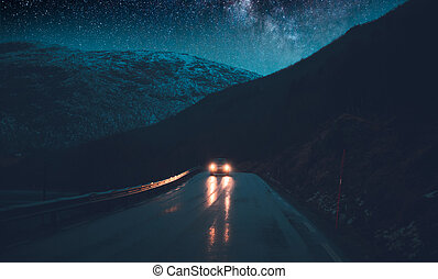 norwegia, przygody, noc, podróż, droga