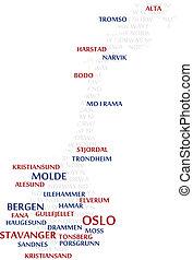 norwegia, słowo, chmura, mapa