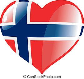 norwegia, w, serce