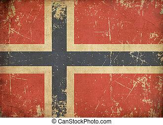Norwegian Aged Flat Flag - Illustration of an rusty, grunge,...