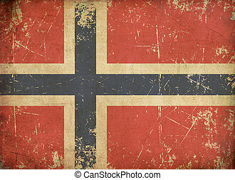 Norwegian Aged Flat Flag - Illustration of an rusty, grunge,...