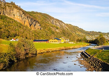 Norwegian countryside with small river and mountains