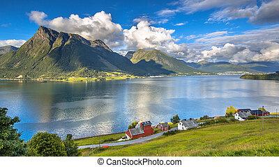 Norwegian fjord landscape on sunny day