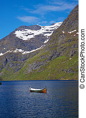 Norwegian fjord - Scenic view of deep norwegian fjord with...