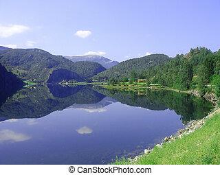 Norwegian fjord - beautiful view of the Norwegian fjord -...