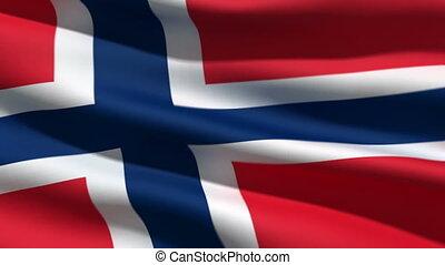 Norwegian flag, 3d animation. perfect seamless loop
