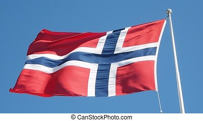 Norwegian flag blowing towards left on a pole, towards clear...