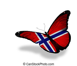 Norwegian flag butterfly flying, isolated on white...