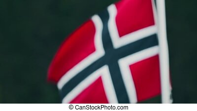 Norwegian Flag, CloseUp - Graded and stabilized version....