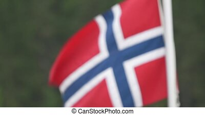 Norwegian Flag, CloseUp - Untouched and stabilized material,...
