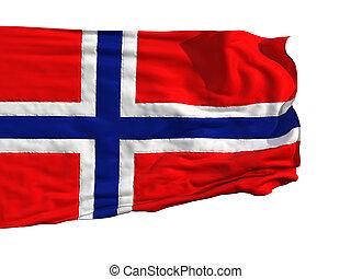 Norwegian flag, fluttering in the wind