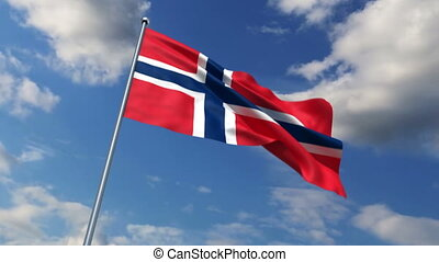 Norwegian flag waving against time-lapse clouds background