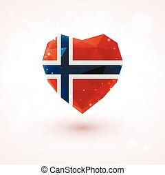 Norwegian flag in shape diamond glass heart. Triangulation style