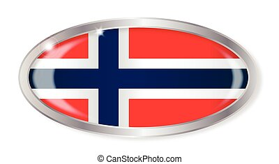 Norwegian Flag Oval Button