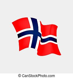 Norwegian flag. Vector illustration of Norway flag in the wind, isolated on black background.
