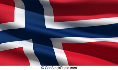 Norwegian flag, 3d animation. perfect seamless loop