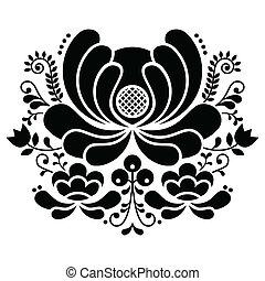 Norwegian folk art black and white - Vector background of...