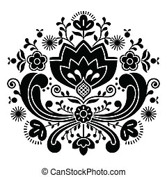 Norwegian folk art Bunad pattern - Vector background of...