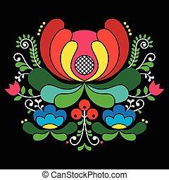 Norwegian folk art pattern - Vector background of floral...