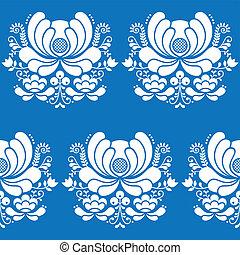 Norwegian folk art seamless pattern - Vector floral...