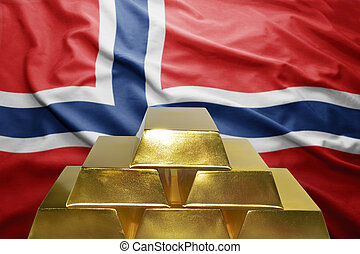 norwegian gold reserves - shining golden bullions on the...
