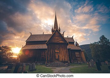 Norwegian Lom Stave Church - Lom Stave Church. Stave Church...