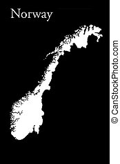 Norwegian Map Isolated On Black Background 3d Illustration