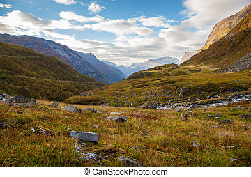 Norwegian mountain autumn landscape near Geiranger