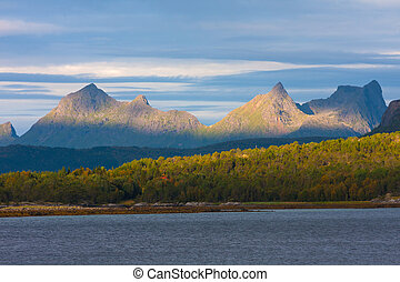 Norwegian mountains and fjord at dawn
