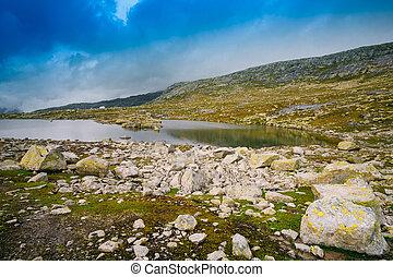 Norwegian Mountains Landscape. Mountains Lake In Norway