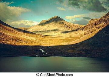 Norwegian Mountains Sunset. Scenic Scandinavian Landscape. Trollstigen Norway.