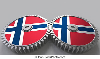 Norwegian national project. Flags of Norway on moving...