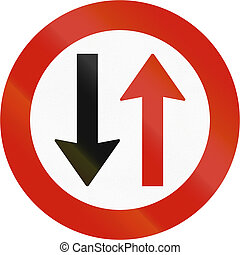 Norwegian regulatory road sign - Give way to oncoming traffic