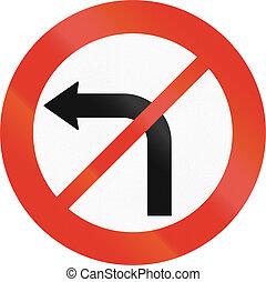 Norwegian regulatory road sign - No left turn.
