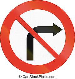 Norwegian regulatory road sign - No right turn.