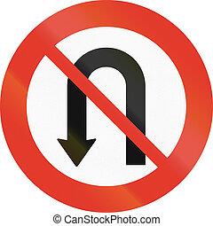 Norwegian regulatory road sign - No U-turn.