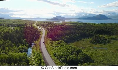 Norwegian road in the mountains. Aerial view